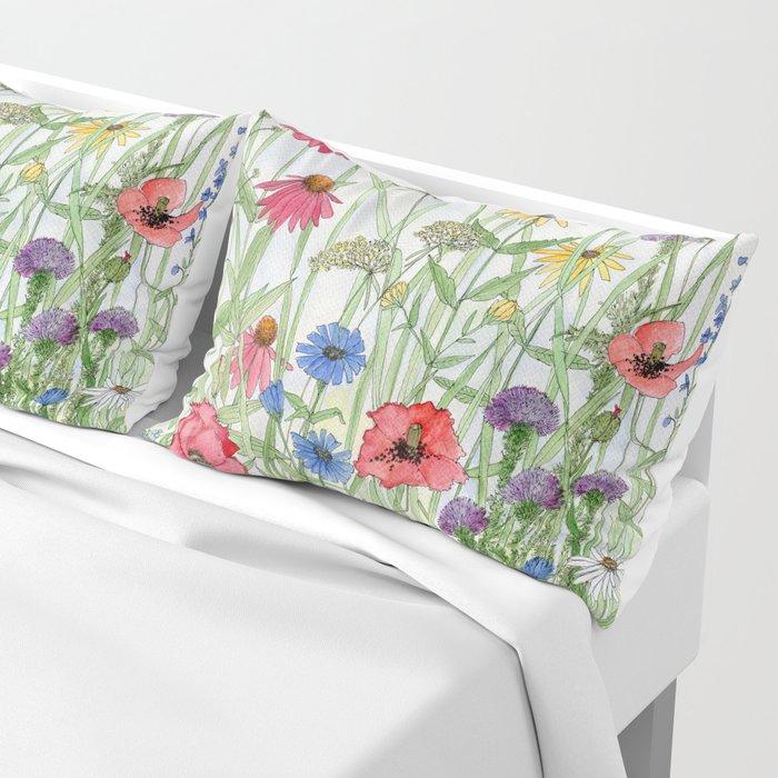Watercolor of Garden Flower Medley Kissenbezug