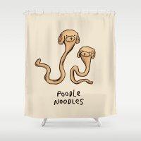 poodle Shower Curtains featuring Poodle Noodles by Sophie Corrigan