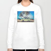 vw bus Long Sleeve T-shirts featuring VW Bus Beach Vacation by Limitless Design