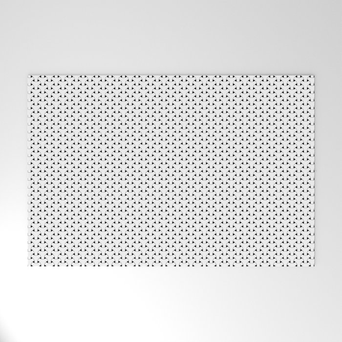 Black and White Basket Weave Shape Pattern - Graphic Design Welcome Mat