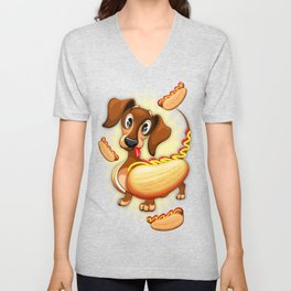 Dachshund Hot Dog Cute and Funny Character Unisex V-Neck