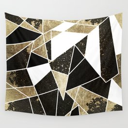 Modern Rustic Black White and Faux Gold Geometric Wall Tapestry