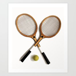 vintage Tennis rackets and ball Art Print