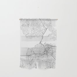 Auckland White Map Wall Hanging
