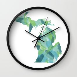 Painted Michigan, Abstract, Blue and Green Wall Clock