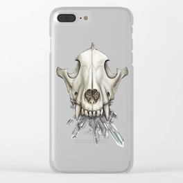 Wolf Skull Crystals Clear iPhone Case