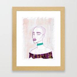 Eva with a 90s choker Framed Art Print