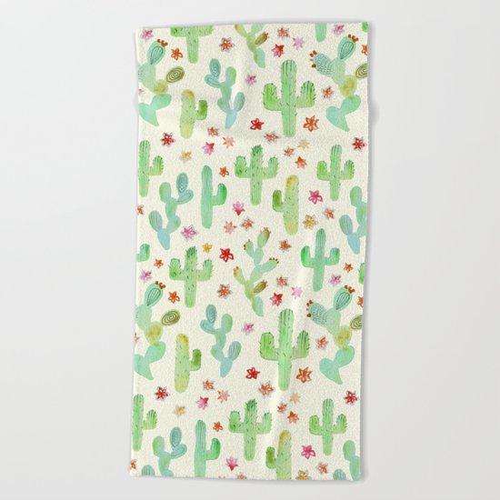 Watercolor Cacti Beach Towel