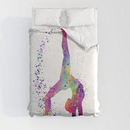 Gymnastics Tumbling Colorful Watercolor Artwork Comforters