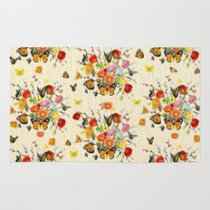 Butterfly Bouquet on Raw Silk Rug