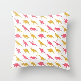 Yellow and Pink Dinosaurs Throw Pillow