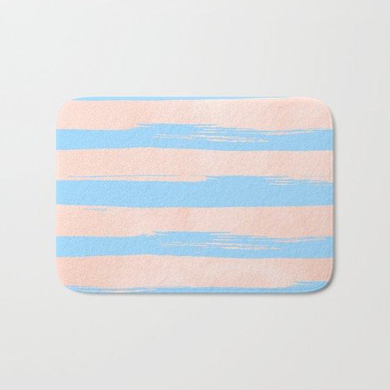 Trendy Stripes - Sweet Peach Coral on Blue Raspberry Bath Mat