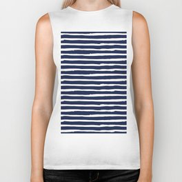 Navy Blue Stripes on White II Biker Tank
