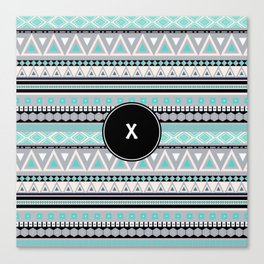 Monogram Tribal Pattern *X* Canvas Print