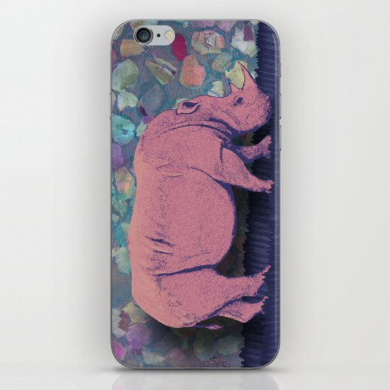 Pink Rhinoceros Collage iPhone Skin