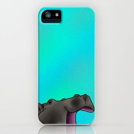 Happy Hippo with Blue Backing iPhone Case