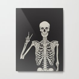 1 Mystic of 94 Magical Mystical Gothic Human Skeleton Giving The Peace Sign Bones Black & White Metal Print