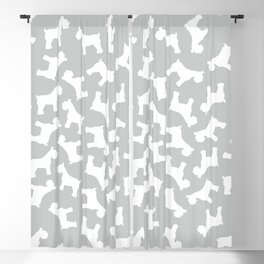 Silver Schnauzers - Simple Dog Silhouettes Pattern Blackout Curtain
