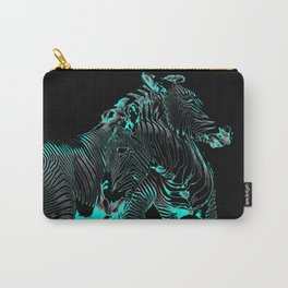 Turquoise Inverse Zebras Carry-All Pouch