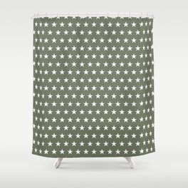 White stars on olive green pattern Shower Curtain