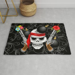 Pirate Skull, Ancient Guns, Flowers and Cannonballs Rug