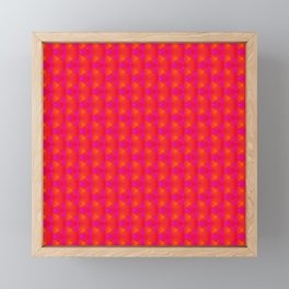 Chaotic pattern of pink rhombuses and orange pyramids. Framed Mini Art Print