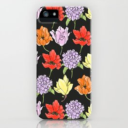 dark crowded floral iPhone Case