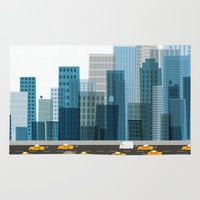 cityscape Area & Throw Rugs featuring Cityscape by Keith Negley