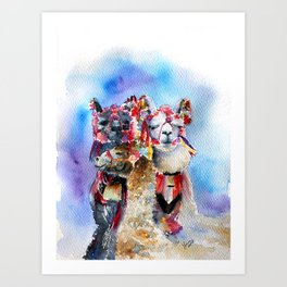 Cute Alpacas friends in Watercolor Art Print