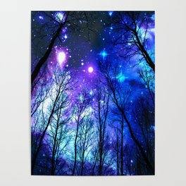 black trees purple blue space Poster