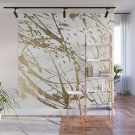 Artistic white abstract faux gold paint splatters Wall Mural