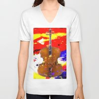 cello V-neck T-shirts featuring Mellow Cello by Brian Raggatt