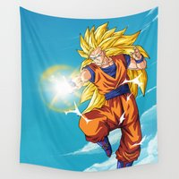 goku Wall Tapestries featuring Goku SS3 by WaXaVeJu