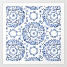 Blue Rhapsody on white Art Print