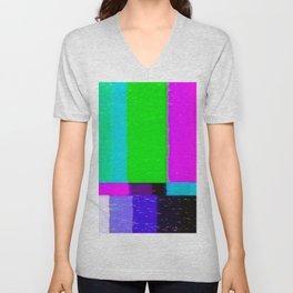 A distorted tv transmission or VHS tape, a badly eaten noisy signal of SMPTE color bars (a television screen test pattern). Vintage photo. Retro background. Unisex V-Neck