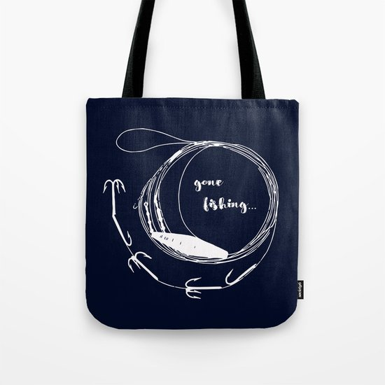 Gone fishing- illustration on marine blue Tote Bag