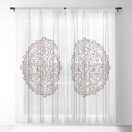 Steampunk Headphone Mandala Sheer Curtain