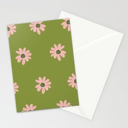 Colorful retro home decor and textile design flower pattern on olive Stationery Cards