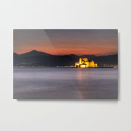 Sunset at the castle of Bourtzi in the bay of Nafplio, Greece  Metal Print