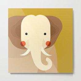 Elephant, Animal Portrait Metal Print
