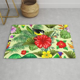 Birds and Nature Floral Exotic Seamless Pattern Rug