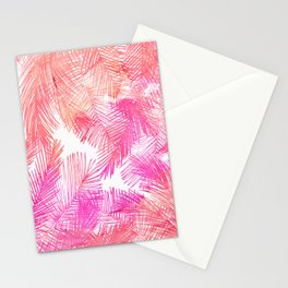 Trendy coral pink watercolor hand drawn palm tree  Stationery Cards