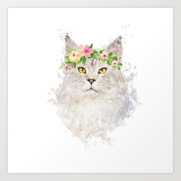 Boho cat portrait with flower crown Art Print