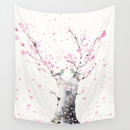 Cherry Blossoms And Birds Wall Tapestry