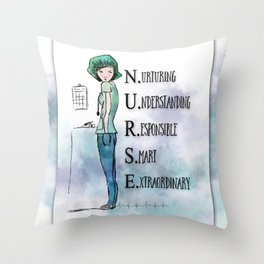 Nurse with Stethoscope Throw Pillow