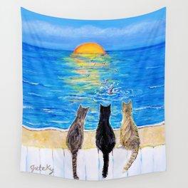Cat Beach Sunset 2 Wall Tapestry
