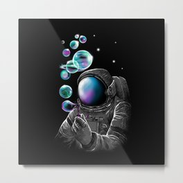 Astronauts and Bubble World Metal Print
