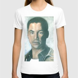 Keanu Reeves portrait with dry pastels T-shirt