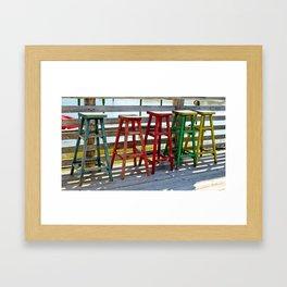 Weathered Bar Stools Framed Art Print