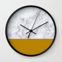 Marble Mustard yellow Color block Wall Clock